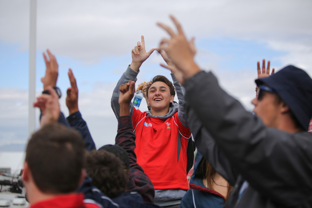 Fans of Wales celebrate a try during a game between Scotland and Wales on the final day of the HSBC World Rugby Sevens Series at Sam Boyd Stadium on Sunday, March 6, 2016. Brett Le Blanc/Las Vegas ...