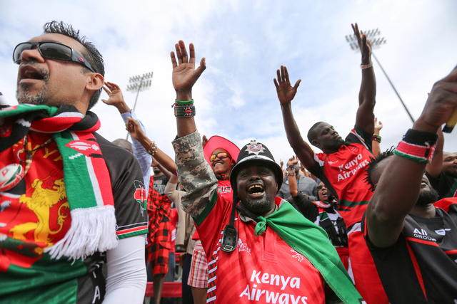 Fans of Kenya celebrate a try during a game between Japan and Kenya on the final day of the HSBC World Rugby Sevens Series at Sam Boyd Stadium on Sunday, March 6, 2016. Brett Le Blanc/Las Vegas Re ...