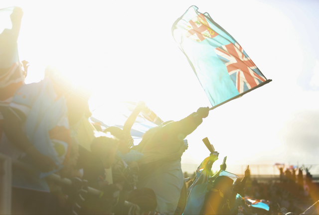 Fiji fans sing their national anthem during the final day of the HSBC World Rugby Sevens Series at Sam Boyd Stadium on Sunday, March 6, 2016. Brett Le Blanc/Las Vegas Review-Journal Follow @blebla ...