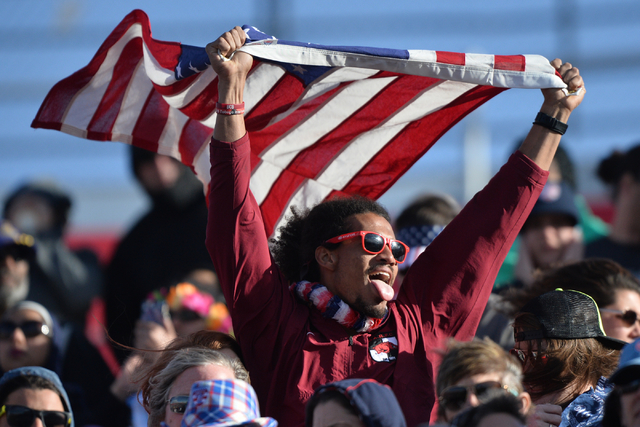 A U.S. fan holds a flag aloft during the final day of the HSBC World Rugby Sevens Series at Sam Boyd Stadium on Sunday, March 6, 2016. Brett Le Blanc/Las Vegas Review-Journal Follow @bleblancphoto