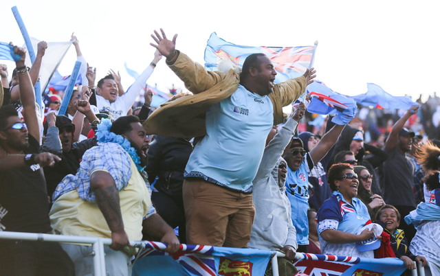 Fiji fans celebrate a try during the championship game of the HSBC World Rugby Sevens Series at Sam Boyd Stadium on Sunday, March 6, 2016. Fiji won, 21-15. Brett Le Blanc/Las Vegas Review-Journal  ...