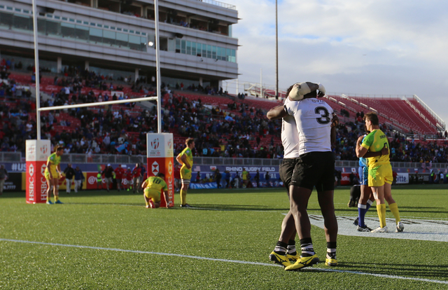 Fiji sevens players celebrate winning the championship game of the HSBC World Rugby Sevens Series at Sam Boyd Stadium on Sunday, March 6, 2016. Fiji won, 21-15. Brett Le Blanc/Las Vegas Review-Jou ...