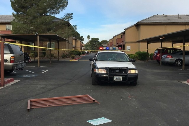Las Vegas police investigate a homicide at The Enclave-University Town Center apartment complex, 4801 Spencer St., Wednesday, March 30, 2016. The homicide was reported just after 11 p.m. Tuesday,  ...
