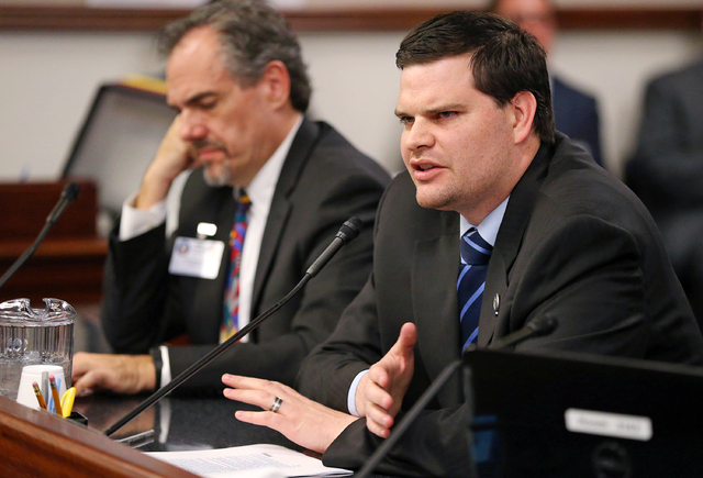 Nevada Assemblyman David Gardner, R-Las Vegas, testifies in a committee hearing at the Legislative Building in Carson City in 2015. While the Nevada Legislature's lawyers are adamant that no lawma ...