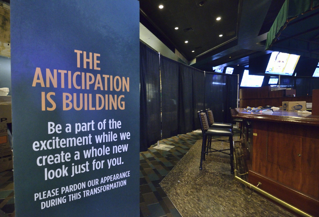 Signage announcing the renovation of the race and sports book is shown at Boulder Station hotel-casino at 4111 Boulder Highway in Las Vegas on Thursday, March 3, 2016. Renovations on half of the b ...