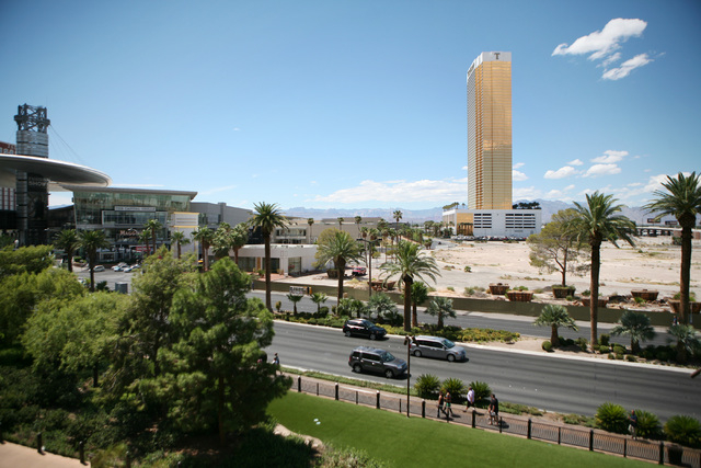 The site of the New Frontier, which was imploded in 2007, is shown north of Fashion Show mall near Trump International Wednesday, Aug. 20, 2014, in Las Vegas.  (Ronda Churchill/Las Vegas Review-Jo ...
