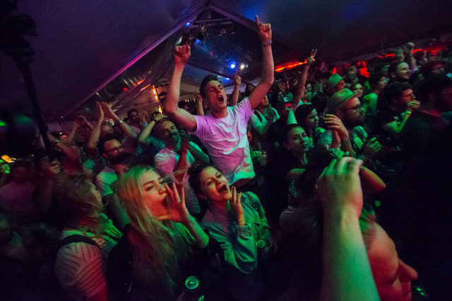 Fans cheer as Golden Dawn Arkestra performs during the first night of the SXSW music festival in downtown Austin, Texas on Tuesday, March 15, 2016. Chase Stevens/Las Vegas Review-Journal Follow @c ...