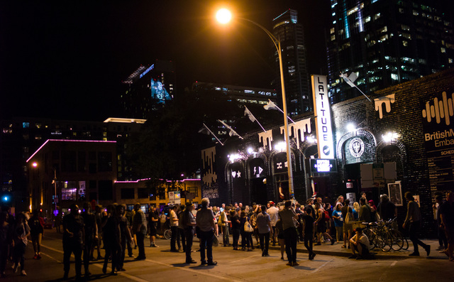 People stand outside of Latitude 30 during the first night of the SXSW music festival in downtown Austin, Texas on Tuesday, March 15, 2016. Chase Stevens/Las Vegas Review-Journal Follow @csstevens ...