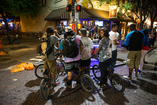 People on bikes crowd together during the first night of the SXSW music festival in downtown Austin, Texas on Tuesday, March 15, 2016. Chase Stevens/Las Vegas Review-Journal Follow @csstevensphoto