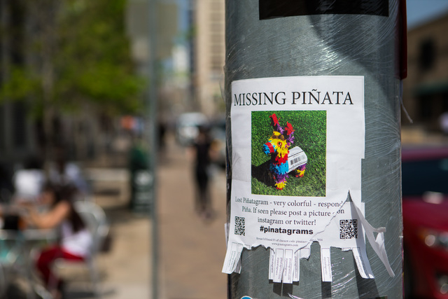 A sign for a missing piata is shown during the second day of the SXSW music festival in downtown Austin, Texas on Wednesday, March 16, 2016. Chase Stevens/Las Vegas Review-Journal Follow @cssteven ...