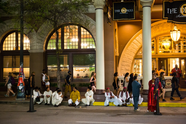 People sit outside of The Driskill hotel during the second day of the SXSW music festival in downtown Austin, Texas on Wednesday, March 16, 2016. Chase Stevens/Las Vegas Review-Journal Follow @css ...