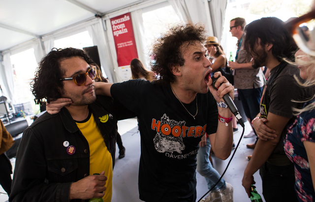 Luis Basilio of Los Nastys gets in the crowd while performing at the Sounds from Spain showcase during the second day of the SXSW music festival in downtown Austin, Texas on Wednesday, March 16, 2 ...