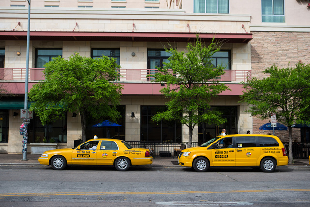 Taxis sit outside of the Courtyard Marriott during the second day of the SXSW music festival in downtown Austin, Texas on Wednesday, March 16, 2016. Chase Stevens/Las Vegas Review-Journal Follow @ ...
