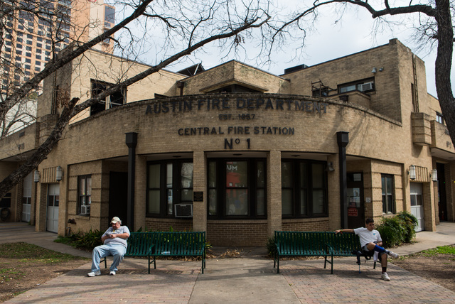 People sit outside of a fire station during the second day of the SXSW music festival in downtown Austin, Texas on Wednesday, March 16, 2016. Chase Stevens/Las Vegas Review-Journal Follow @cssteve ...