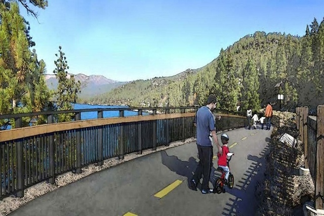 A rendering shows a possible design for a bike and pedestrian path between Incline Village and Sand Harbor on the northeast shore of Lake Tahoe. Courtesy, www.tahoefund.org