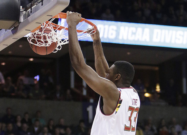 Maryland center Diamond Stone (33) dunks during the first half of a second-round men's college basketball game against Hawaii in the NCAA Tournament in Spokane, Wash., Sunday, March 20, 2016. (AP  ...