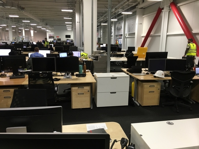 Tesla Gigafactory production employees work in an open-floor plan to foster communication. Tesla gave a tour of its facility east of Reno on Friday, March 18, 2016. (Sean Whaley/Las Vegas Review-J ...