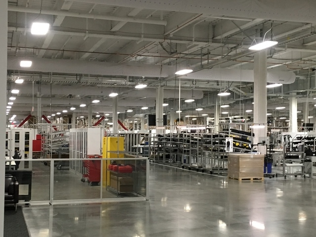 The Tesla Gigafactory east of Reno already is producing home and larger-capacity-storage batteries. Tesla gave a tour on Friday, March 18, 2016. (Sean Whaley/Las Vegas Review-Journal Capital Bureau)