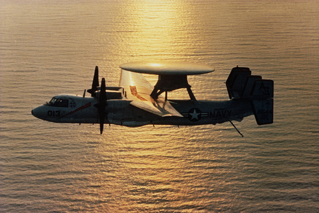 E-2C Hawkeye aircraft flying above the sea (THINKSTOCK)