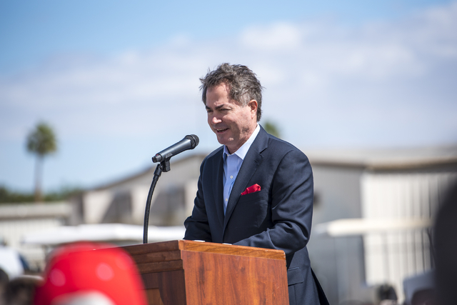 Len Jessup, president of UNLV, speaks during the Thomas & Mack topping-off ceremony at UNLV in Las Vegas on Tuesday, March 22, 2016. Joshua Dahl/Las Vegas Review-Journal