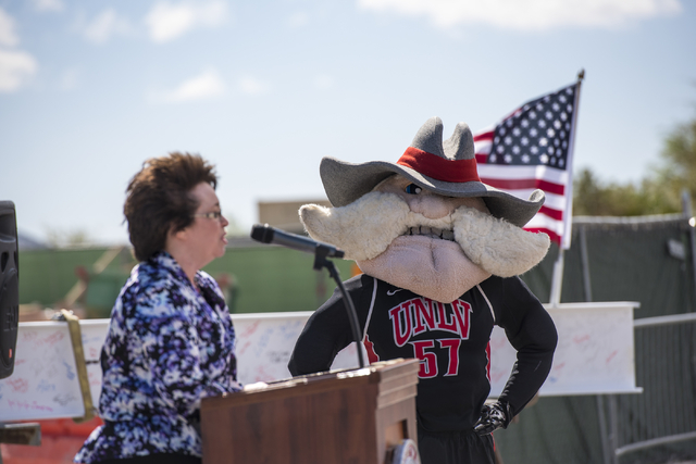 Hey Reb looks on as Clark County Commissioner Mary Beth Scow speaks during the Thomas & Mack topping-off ceremony at UNLV in Las Vegas on Tuesday, March 22, 2016. Joshua Dahl/Las Vegas Review- ...