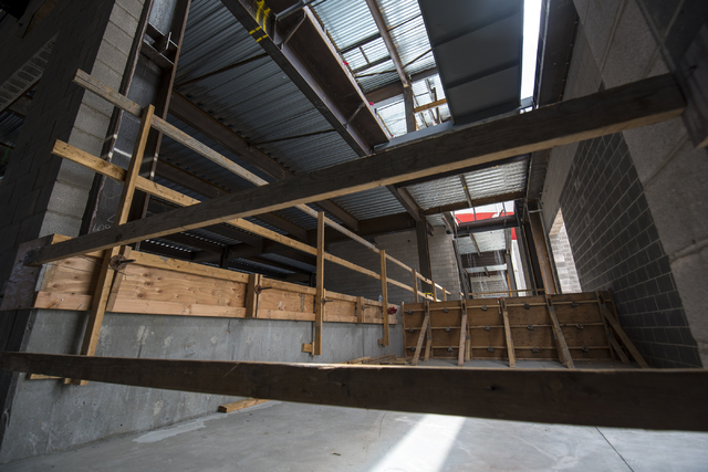 The inside of the new addition to the Thomas & Mack center is shown during the Thomas & Mack topping-off ceremony at UNLV in Las Vegas on Tuesday, March 22, 2016. Joshua Dahl/Las Vegas Rev ...