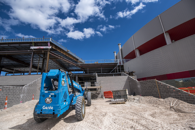 The outside of the new addition to the Thomas & Mack center is shown during the Thomas & Mack topping-off ceremony at UNLV in Las Vegas on Tuesday, March 22, 2016. Joshua Dahl/Las Vegas Re ...