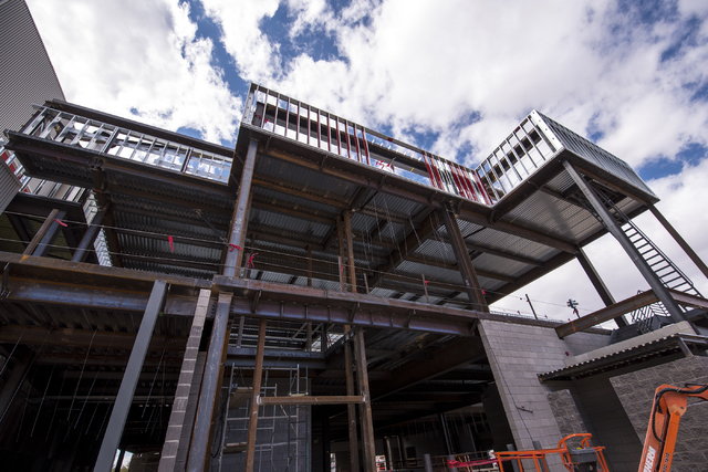 The outside of the new addition to the Thomas & Mack center is shown during the topping-off ceremony at UNLV in Las Vegas on Tuesday, March 22, 2016. Joshua Dahl/Las Vegas Review-Journal