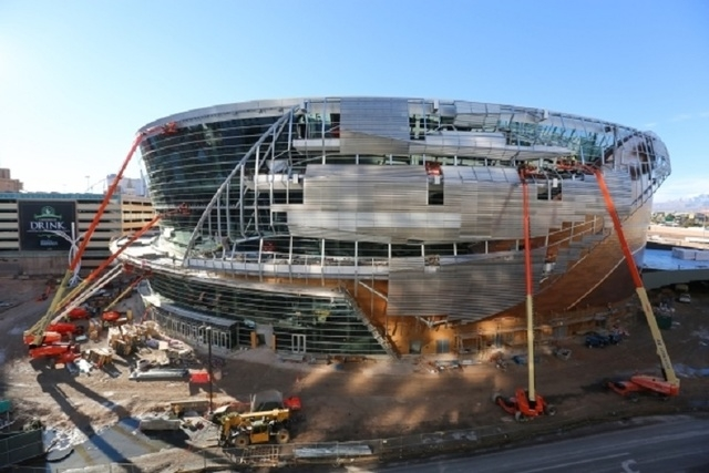 Construction workers continue building the exterior of the T-Mobile Arena on the Strip in Las Vegas on Wednesday, Jan. 6, 2016. (Brett Le Blanc/Las Vegas Review-Journal) Follow @bleblancphoto
