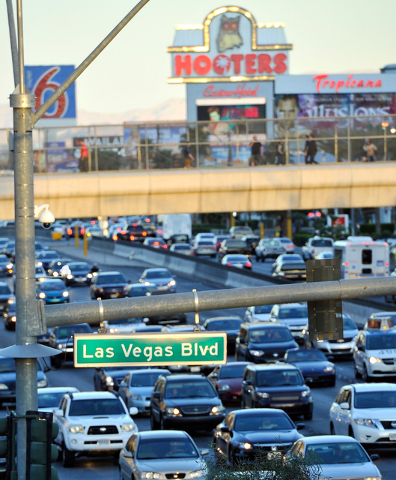 Vehicle traffic travels along Tropicana Avenue at the Strip in Las Vegas on Thursday, Feb. 26, 2015. David Becker/Las Vegas Review-Journal