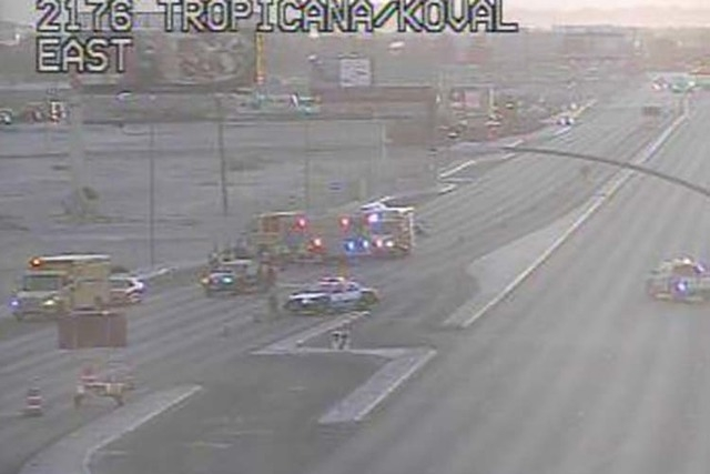 Tropicana Avenue between Koval Lane and Paradise Road has been shut down due to an accident Thursday morning, March 3, 2016. (RTC/FAST Cameras)