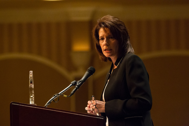 Nevada Attorney General Catherine Cortez Masto speaks about human trafficking in Nevada at the United Citizens Foundation Fundraising Gala at the Orleans in Las Vegas on Friday, Feb. 28, 2014. (Ch ...