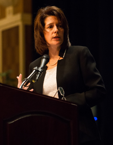 Then-Nevada Attorney General Catherine Cortez Masto speaks about human trafficking in Nevada at the United Citizens Foundation Fundraising Gala on Feb. 28, 2014, at the Orleans in Las Vegas. Corte ...