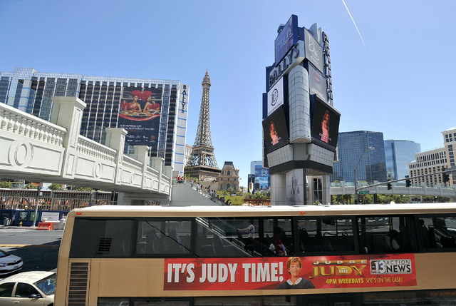 An RTC bus passes along the Strip on Tuesday, June 17, 2014. (David Becker/Las Vegas Review-Journal)