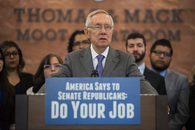 Senate Democratic leader Harry Reid  during a news conference at the William S. Boyd School of Law at UNLV in Las Vegas on Friday, March 25, 2016. (Martin S. Fuentes/Las Vegas Review-Journal)