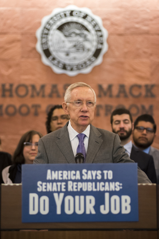 Senate Democratic leader Harry Reid calls for an end to the obstruction of Supreme Court Justice nominee Merrick Garland by Republican leadership during a news conference at the William S. Boyd Sc ...