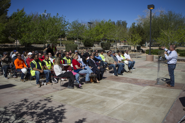 Lt. Gov. Mark Hutchison speaks during a national tribute ceremony honoring veterans at the Las Vegas Veterans Memorial outside of the Grant Sawyer State Office Building on Saturday, March 12, 2016 ...