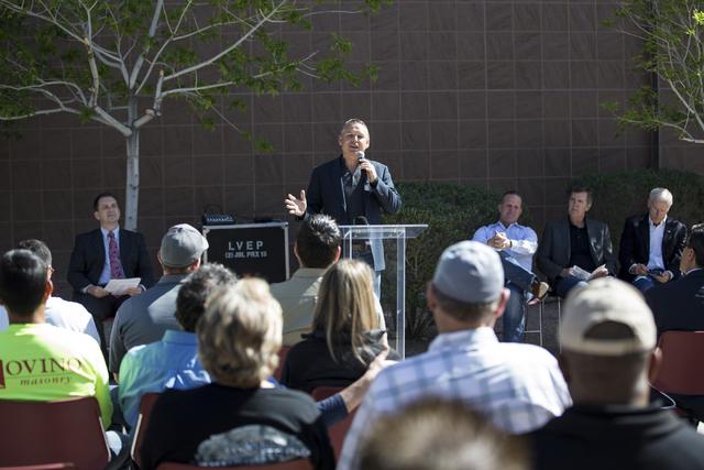 Alan Schrimpf, member of the Las Vegas Veterans Memorial Board of Directors, speaks during a national tribute ceremony honoring veterans at the Las Vegas Veterans Memorial outside of the Grant Saw ...