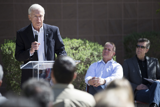 Hugh Sinnock, vice president of customer experience at the Las Vegas Convention and Visitors Authority, speaks during a national tribute ceremony honoring veterans at the Las Vegas Veterans Memori ...