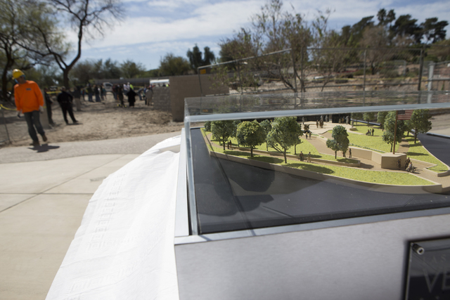An architectural scale model is seen during a national tribute ceremony honoring veterans at the Las Vegas Veterans Memorial outside of the Grant Sawyer State Office Building on Saturday, March 12 ...