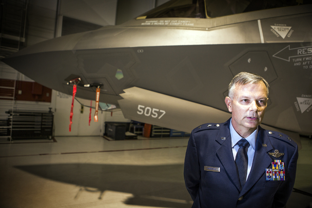 Brig. Gen. Glen D. VanHerck, incoming commander of the U.S. Warfare Center, stands in front of a F-35 during a change of command ceremony at Nellis Air Base on Tuesday, March 22, 2016. Jeff Scheid ...