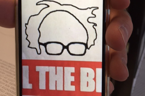 Bernie Sanders fans have been getting simplistic tattoos showing a black outline on a white background of Sanders' balding head and reading glasses.(Courtesy)