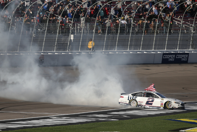 Brad Keselowski (2) celebrates his win of the NASCAR Sprint Cup Series Kobalt 400 race with a burnout at the Las Vegas Motor Speedway in Las Vegas on Sunday, March 6, 2016. Chase Stevens/Las Vegas ...