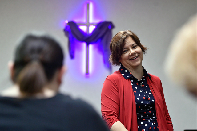 The Rev. Ann Thomas speaks with her congregation about the proposed gun background check initiative at the Journey United Methodist Church Monday, March 14, 2016, in Las Vegas. David Becker/Las Ve ...