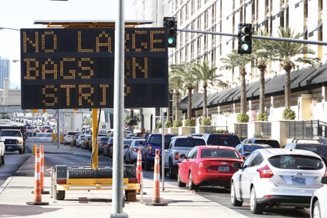 In electronic sign reminding people who come to celebrate the New Year on the Strip not to bring large bags is seen on Wednesday, Dec. 30, 2015, on Flamingo Road, near Las Vegas Boulevard. (Bizuay ...