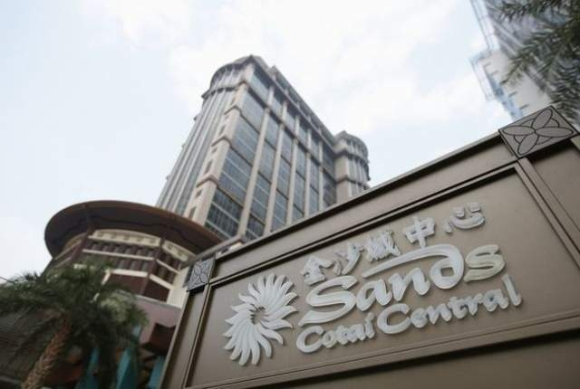 The Sands Cotai Central logo is seen in front of its hotel in Macau, Sept. 20, 2012. (Tyrone Siu/Reuters/Files)