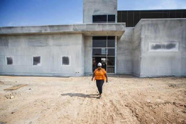 Yolanda Hamilton, principal of Inspirada campus, is shown touring the location of Pinecrest Academy's other campus in the valley while it was under construction (Jeff Scheid/Las Vegas Review-Journ ...