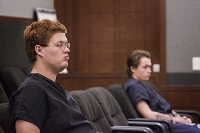 Defendants Derrick Andrews, left, and Erich Nowsch, appear in court at the Regional Justice Center on Thursday, May 21, 2014. Nowsch is accused in the Feb. 12 slaying of Tammy Meyers while Andrews ...