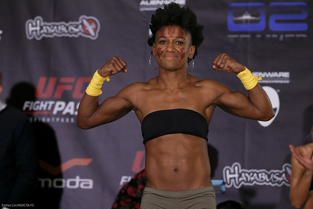 "Angela Hill, a former competitor on ""The Ultimate Fighter"" will take on Stephanie Eggink in a strawweight bout on the Invicta 16 card at Tropicana on Friday. (Esther Lin/Invicta FC)"