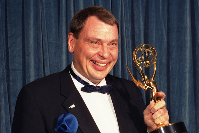 "In this Sunday, Aug. 28, 1988 file photo, Larry Drake holds the Emmy he won for best supporting actor in a drama series for his role as a mentally challenged character in ""L.A. Law,"" at the 40th a ..."